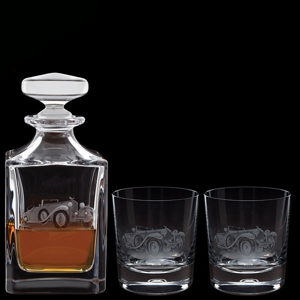 Dartington Engraved Bentley Decanter & A Pair Of Engraved Bentley Tumblers