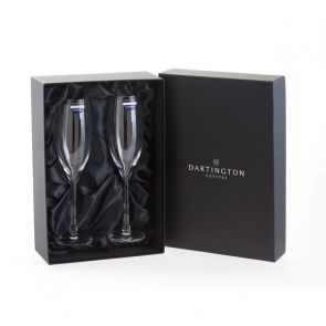 Wine Master Flute Champagne Glasses - Packaged in a silk lined gift box