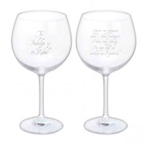 Jeffery West Wine Glass, Set of 2 - To Indulge is to Rebel