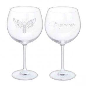 Jeffery West Wine Glass, Set of 2 - Moth & Degenerate