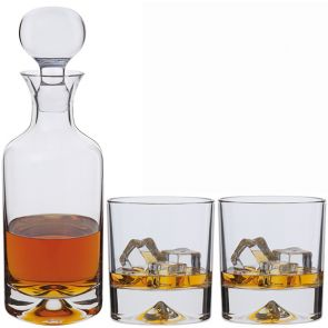 Dimple Decanter & Double Old Fashioned Whisky Glass Pair - Packaged in a presentation box