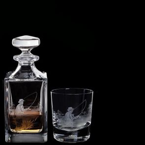 Engraved Fly Fisherman Decanter & One Fly Fisherman Tumbler