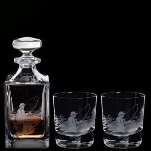 Engraved Fly Fisherman Decanter & A Pair Of Fly Fisherman Tumblers