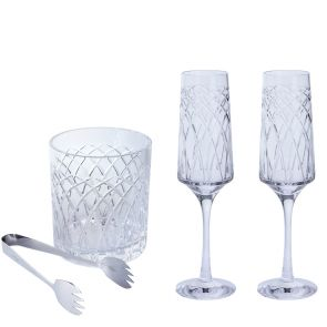 Harris Flute and Ice Bucket Gift Set | Clear