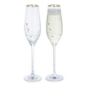 Glitz Gold Champagne Flute Glasses