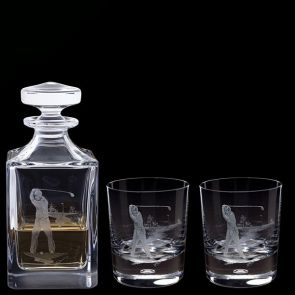 Engraved Golfer Decanter & A Pair Of Engraved Golfer Tumblers