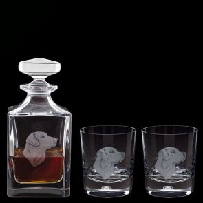 Engraved Labrador Decanter & A Pair Of Engraved Labrador Tumblers