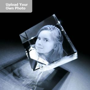 Large Laser Photo Gift Block - Diamond (Free Text Engraving Available) - Standard delivery will be 3 working days.