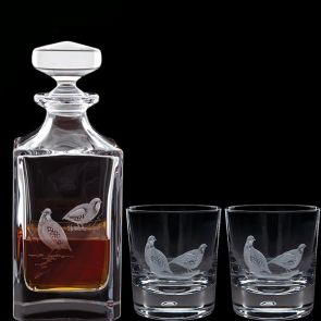 Engraved Game Partridge Decanter & A Pair Of Engraved Partridge Tumblers