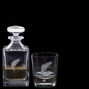 Engraved Salmon Decanter & One Engraved Salmon Tumbler
