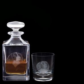 Engraved Springer Spaniel Decanter & One Engraved Springer Spaniel Tumbler