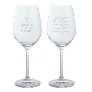 Jeffery West White Wine Glass, Set of 2 - To Indulge is to Rebel