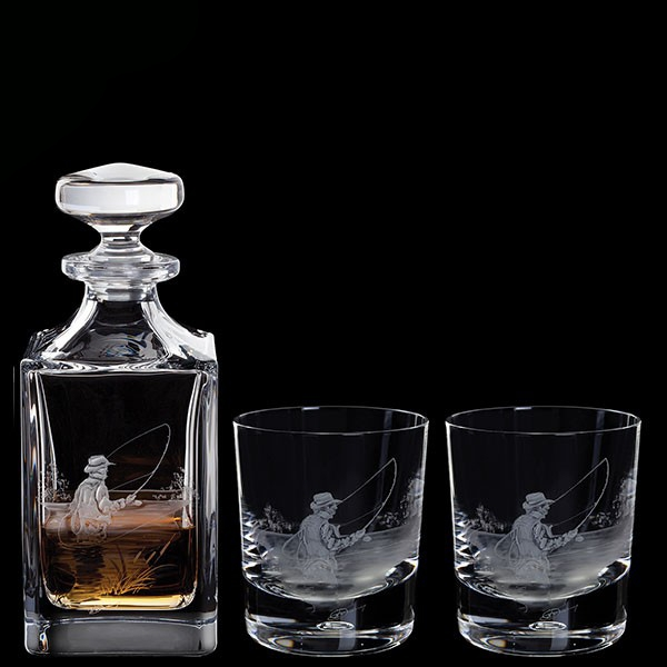 Dartington Engraved Fly Fisherman Decanter & A Pair Of Fly Fisherman Tumblers
