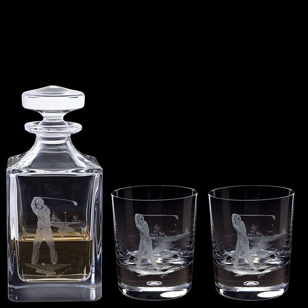 Dartington Engraved Golfer Decanter & A Pair Of Engraved Golfer Tumblers