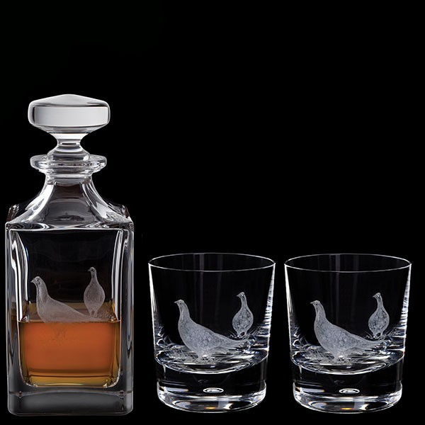 Dartington Engraved Grouse Decanter & A Pair Of Engraved Grouse Tumblers