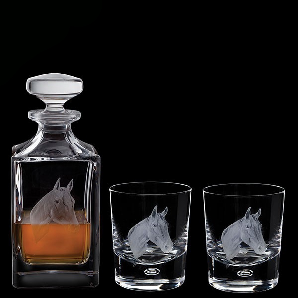 Dartington Engraved Horse Decanter & A Pair Of Engraved Horse Tumblers