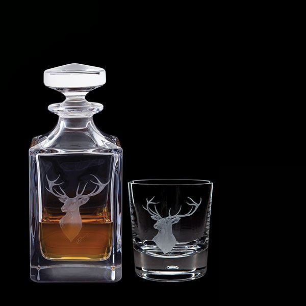 Dartington Engraved Game Red Stag Decanter & One Engraved Red Stag Tumbler